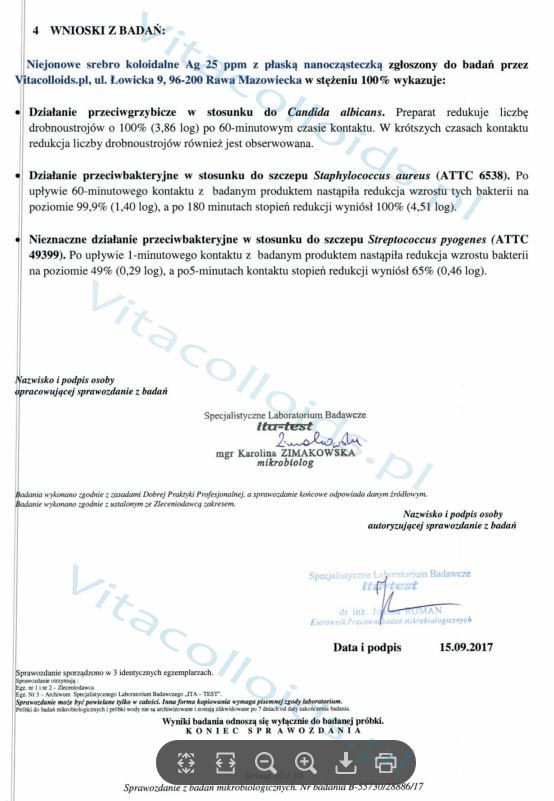 Srebro koloidalne Vitacolloids vs Candida badanie laboratoryjne str1